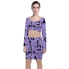 Lilac Yearbook 2 Long Sleeve Crop Top & Bodycon Skirt Set