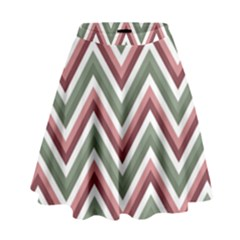 Chevron Blue Pink High Waist Skirt by snowwhitegirl