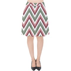Chevron Blue Pink Velvet High Waist Skirt by snowwhitegirl