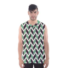Zigzag Chevron Pattern Green Black Men s Basketball Tank Top by snowwhitegirl