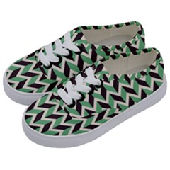 Zigzag Chevron Pattern Green Black Kids  Classic Low Top Sneakers by snowwhitegirl