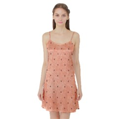 Dot Peach Satin Night Slip