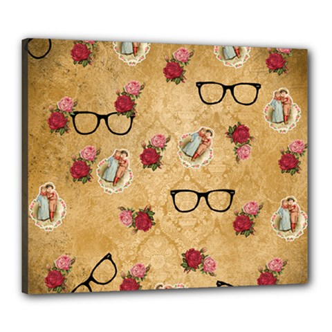 Vintage Glasses Beige Canvas 24  X 20  by snowwhitegirl