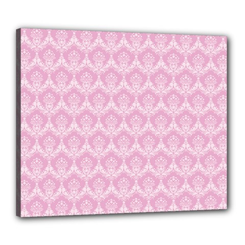 Damask Pink Canvas 24  X 20  by snowwhitegirl