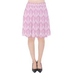 Damask Pink Velvet High Waist Skirt by snowwhitegirl
