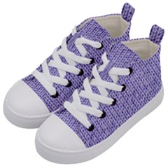 Knitted Wool Lilac Kid s Mid Top Canvas Sneakers by snowwhitegirl