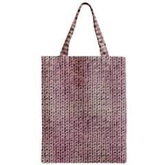 Knitted Wool Pink Light Zipper Classic Tote Bag by snowwhitegirl
