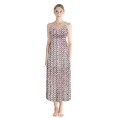 Knitted Wool Pink Light Button Up Chiffon Maxi Dress