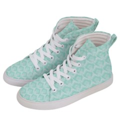 Damask Aqua Green Men s Hi Top Skate Sneakers by snowwhitegirl