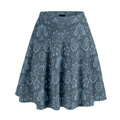Damask Blue High Waist Skirt by snowwhitegirl