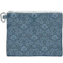 Damask Blue Canvas Cosmetic Bag (xxxl) by snowwhitegirl