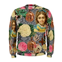 Damask Religious Victorian Grey Men s Sweatshirt