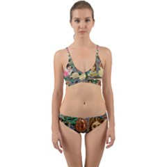 Damask Religious Victorian Grey Wrap Around Bikini Set