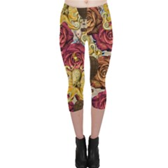 Octopus Floral Capri Leggings  by snowwhitegirl