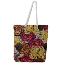 Octopus Floral Full Print Rope Handle Tote (large)