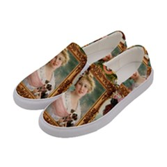 Victorian Collage Of Woman Women s Canvas Slip Ons by snowwhitegirl