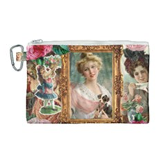 Victorian Collage Of Woman Canvas Cosmetic Bag (large) by snowwhitegirl