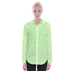 Green Chevron Womens Long Sleeve Shirt by snowwhitegirl
