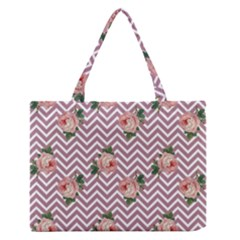 Violet Chevron Rose Zipper Medium Tote Bag