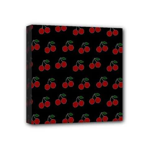 Cherries Black Mini Canvas 4  X 4  by snowwhitegirl