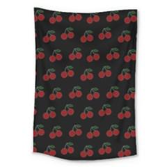 Cherries Black Large Tapestry by snowwhitegirl