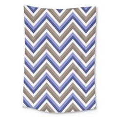 Chevron Blue Beige Large Tapestry