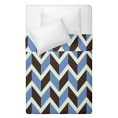 Chevron Blue Brown Duvet Cover Double Side (single Size) by snowwhitegirl