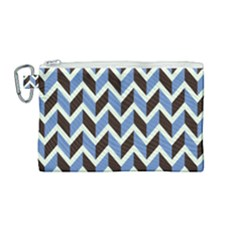 Chevron Blue Brown Canvas Cosmetic Bag (medium) by snowwhitegirl