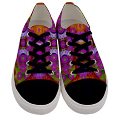 Shimmering Pond With Lotus Bloom Men s Low Top Canvas Sneakers