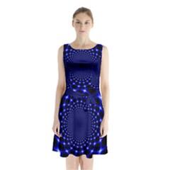 Indigo Lotus  Sleeveless Waist Tie Chiffon Dress