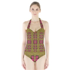 Bloom In Gold Shine And You Shall Be Strong Halter Swimsuit