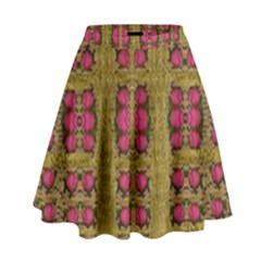 Bloom In Gold Shine And You Shall Be Strong High Waist Skirt by pepitasart