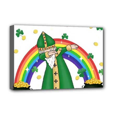 St  Patrick  Dabbing Deluxe Canvas 18  X 12   by Valentinaart