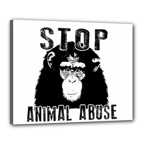 Stop Animal Abuse   Chimpanzee  Canvas 20  X 16  by Valentinaart