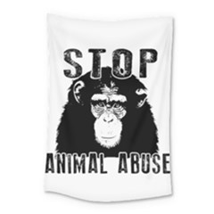 Stop Animal Abuse   Chimpanzee  Small Tapestry by Valentinaart