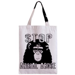 Stop Animal Abuse   Chimpanzee  Zipper Classic Tote Bag by Valentinaart
