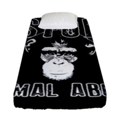 Stop Animal Abuse   Chimpanzee  Fitted Sheet (single Size) by Valentinaart