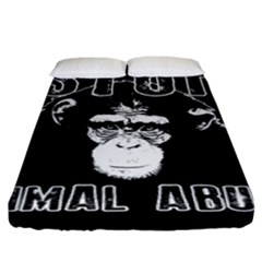 Stop Animal Abuse   Chimpanzee  Fitted Sheet (king Size) by Valentinaart