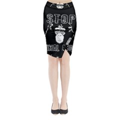 Stop Animal Abuse   Chimpanzee  Midi Wrap Pencil Skirt