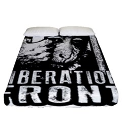 Animal Liberation Front   Chimpanzee  Fitted Sheet (queen Size) by Valentinaart
