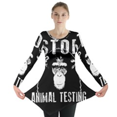 Stop Animal Testing   Chimpanzee  Long Sleeve Tunic  by Valentinaart