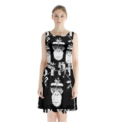 Stop Animal Testing   Chimpanzee  Sleeveless Waist Tie Chiffon Dress