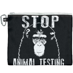 Stop Animal Testing   Chimpanzee  Canvas Cosmetic Bag (xxxl) by Valentinaart