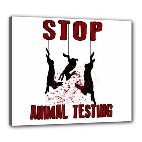 Stop Animal Testing   Rabbits  Canvas 24  X 20  by Valentinaart