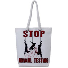 Stop Animal Testing   Rabbits  Full Print Rope Handle Tote (small) by Valentinaart