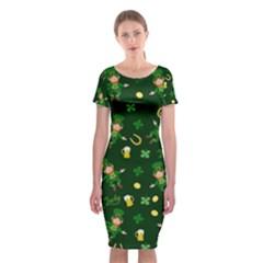 St Patricks Day Pattern Classic Short Sleeve Midi Dress by Valentinaart