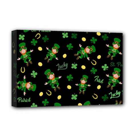 St Patricks Day Pattern Deluxe Canvas 18  X 12   by Valentinaart