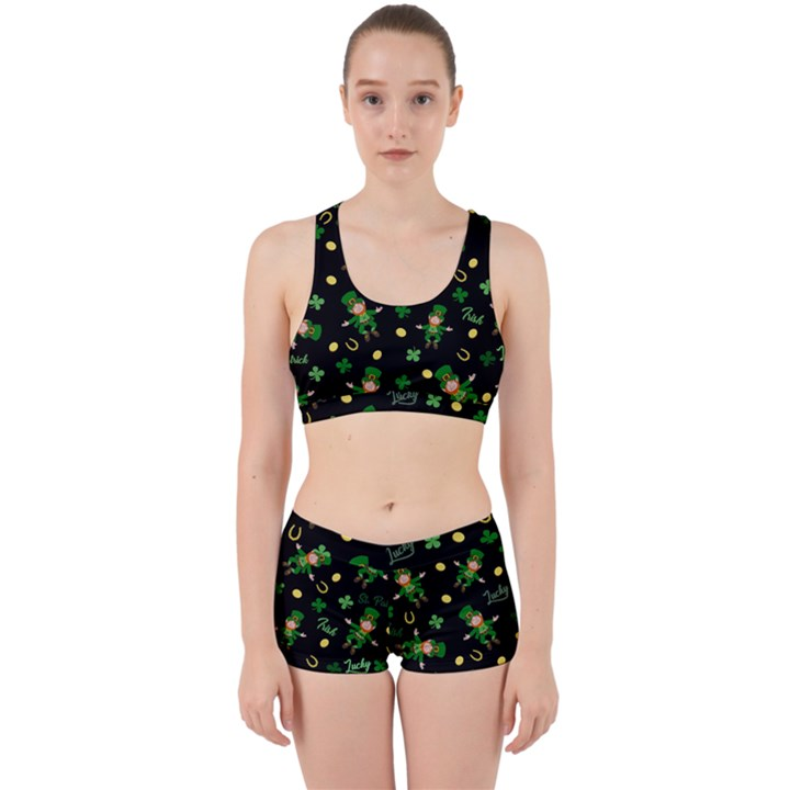 St Patricks day pattern Work It Out Sports Bra Set