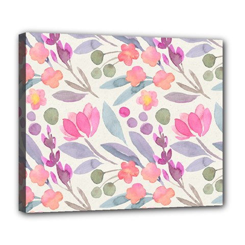 Purple And Pink Cute Floral Pattern Deluxe Canvas 24  X 20   by paulaoliveiradesign