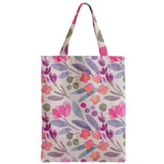 Purple And Pink Cute Floral Pattern Zipper Classic Tote Bag by paulaoliveiradesign